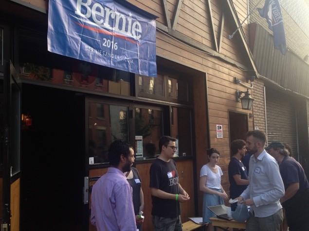 Sen. Bernie Sanders supporters gather outside Die Koelner Bier Hall (Photo: Will Bredderman/New York Observer).
