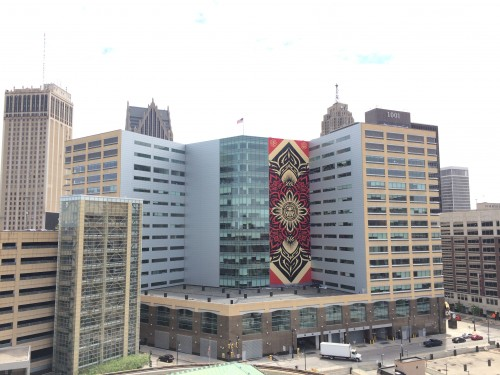 Shepard Fairey's commissioned mural in downtown Detroit (Photo: courtesy of the artist's website).