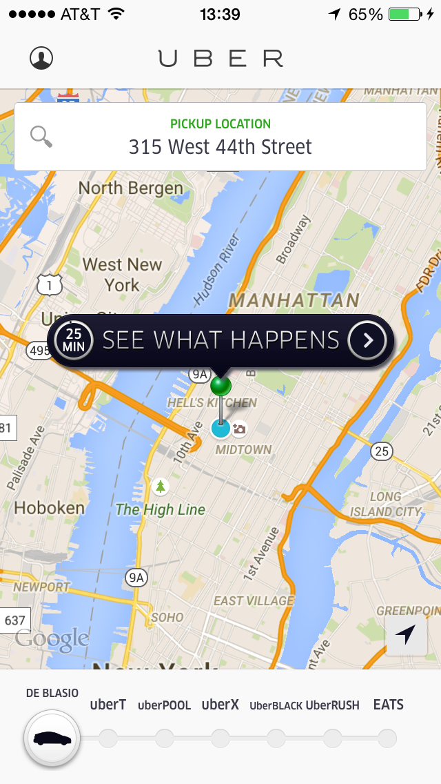 """With today's new """"de Blasio"""" option, Uber New York is trying to show its users that wait times will soar to 25 minutes if de Blasio's cap bill is passed. (Photo: Uber)"""