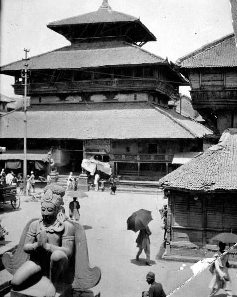 Kasthamandap as it appeared in 1930, photograph by Dirgha Man Chitrakar (Kiran's grandfather). (Photo: © DirghaMan & GaneshMan Chitrakar Art Foundation, Courtesy The Rubin Museum of Art)