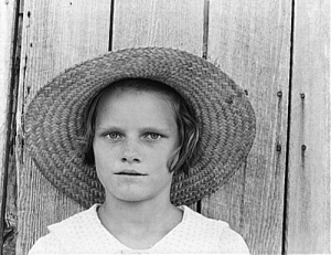 Lucille Burroughs, daughter of a cotton sharecropper. Hale County, Alabama by Walker Evans, 1935-36. (Flickr)