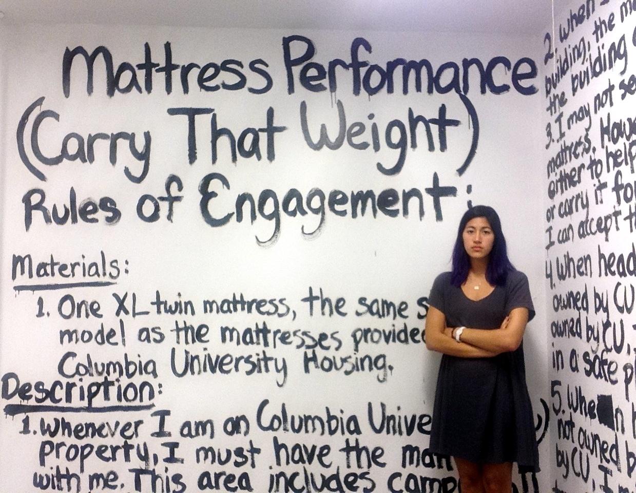 "Emma Sulkowicz's mattress performance, ""Carry The Weight."""