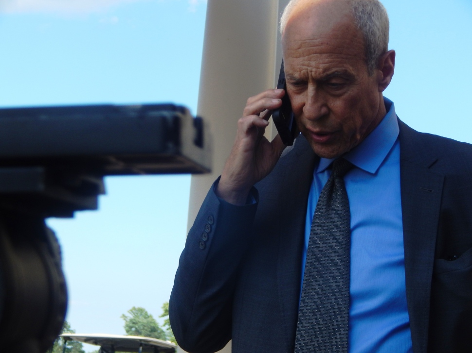 NJTV Chief Political Correspondent Michael Aron on stakeout duty.