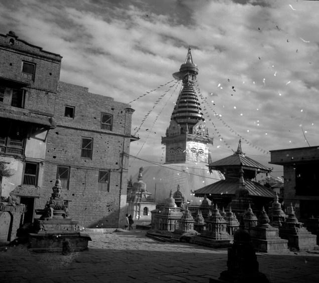 Swayambhu in 1970, in a photograph taken by Ganesh Man Chitrakar (Kiran's father). (Photo: © DirghaMan & GaneshMan Chitrakar Art Foundation, Courtesy The Rubin Museum of Art)