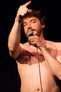 A naked comedian (Photo: Mindy Tucker).
