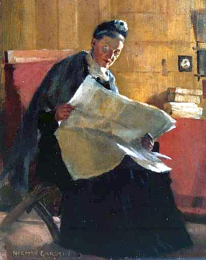 A Woman Reading a Newspaper, by Norman_Garstin (1891). (Photo via Wikimedia Commons)