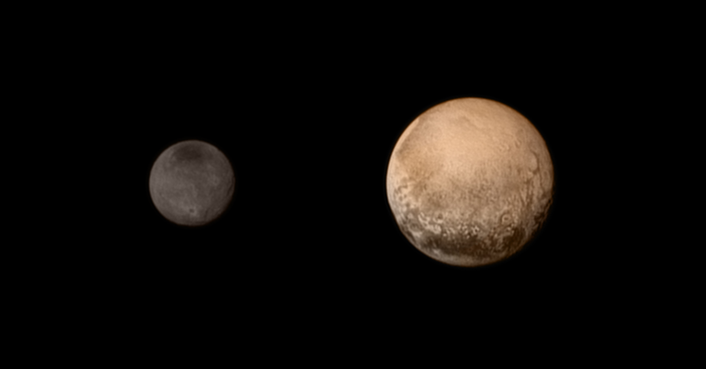 Pluto, at right, and its moon Charon in a composite photo from NASA's New Horizons spacecraft. (Photo: NASA-JHUAPL-SWRI)
