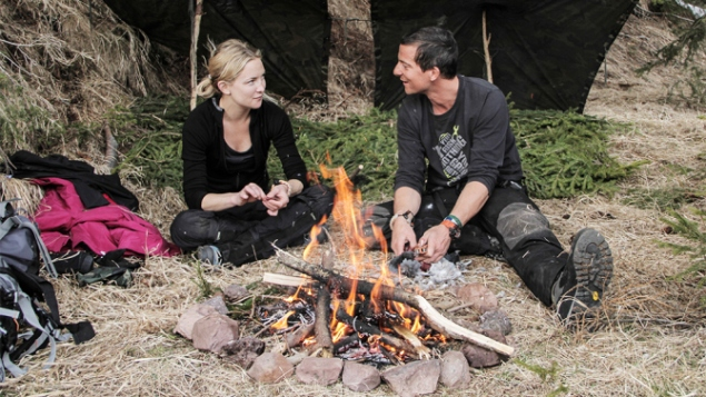 "RUNNING WILD WITH BEAR GRYLLS -- ""Kate Hudson"" Episode 203 -- Pictured: (l-r) Kate Hudson, Bear Grylls -- (Photo by: Mark Challender/NBC)"