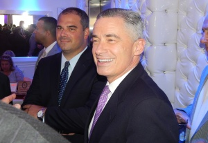 McGreevey, right, with Fulop Chief-of-Staff Mark Albiez, that human conduit between Fulop and increasingly powerful Union City Mayor Brian P. Stack, and a key component to a unified Hudson County.