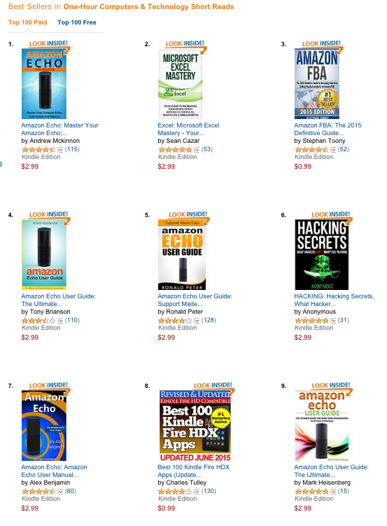 """Top books in """"One-Hour Computers & Technology Short Reads"""" in the Amazon Kindle ebook store. (Image: Screenshot)"""