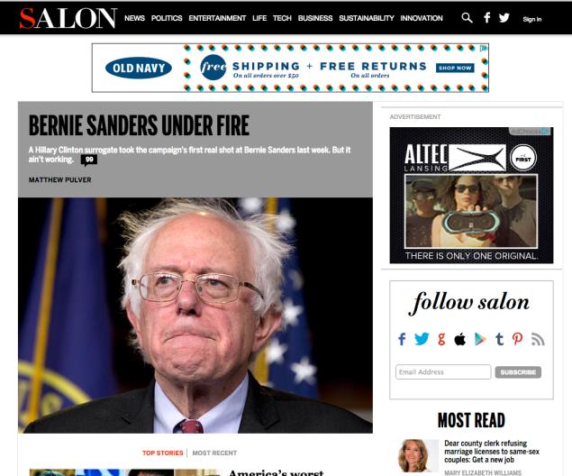 A screenshot of Salon's homepage.