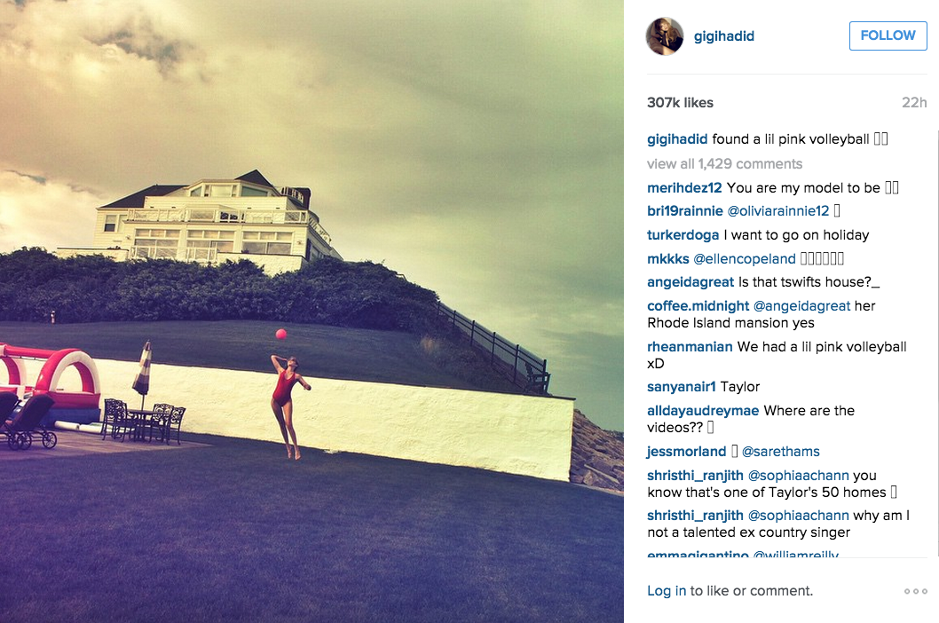 Taylor Swift played volleyball ouside. (Photo: Instagram/Gigi Hadid)