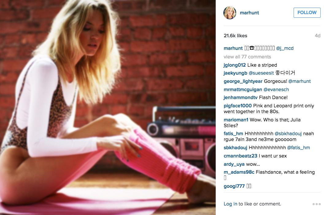 Martha Hunt rocked some 80s-inspired aerobics gear. (Photo: Instagram/Martha Hunt)