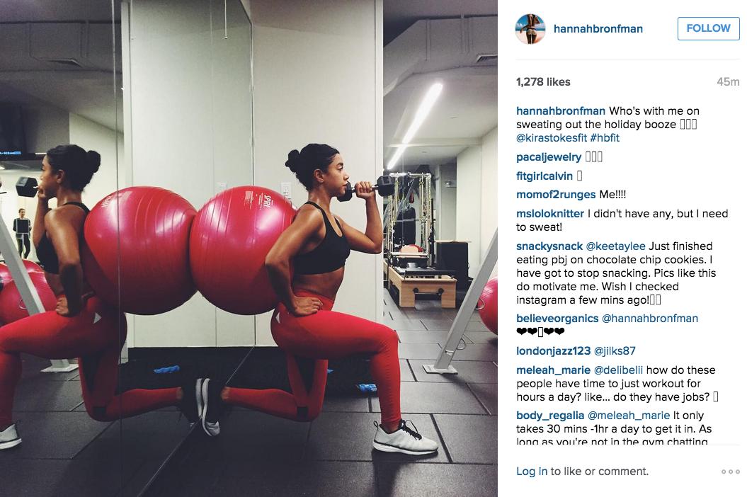Ms. Bronfman hit the gym. (Photo: Instagram/Hannah Bronfman)