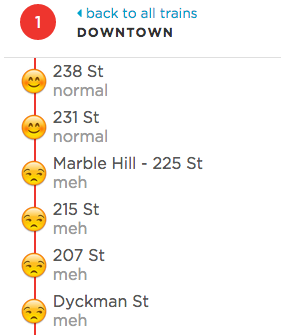 """Some stops are """"meh"""" today. (Screengrab: WNYC)"""