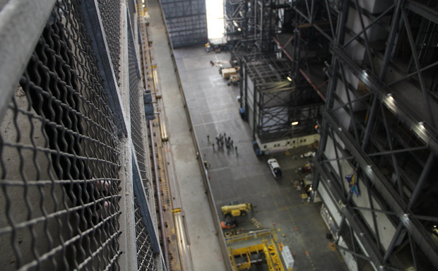 A view from the 47th floor of the Vehicle Assembly Building which will soon house the powerful Space Launch System.