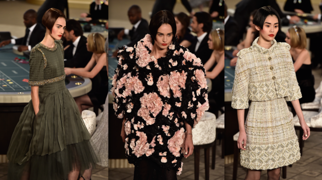 Models at Chanel's runway show today. (Photos: Pascal Le Segretain/Getty Images)