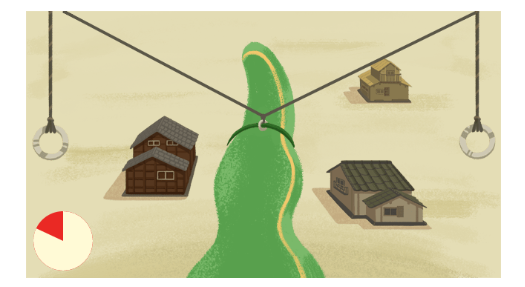 From the third task in the  Google Doodle for Eiji Tsuburaya's 114th Birthday. (Image: screenshot)
