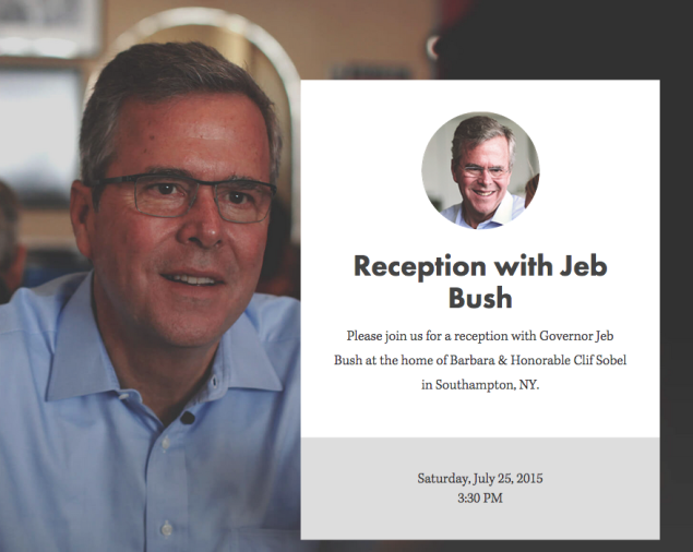 Despite the misspelled first name, it's finally clear that Cliff Sobel, consummate New Jersey fundraiser, is supporting Jeb Bush. (screencap jeb2016.com)