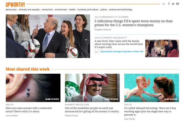 A screenshot of Upworthy's  homepage.