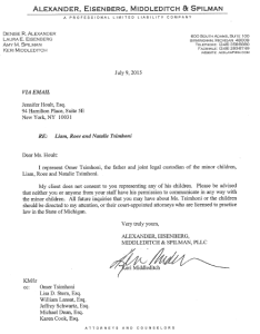 This is the letter that Omer Tsimhoni's attorney, Keri Middleditch, sent to another attorney, Jennifer Hoult, last night after the Observer story in which Hoult said she represents the three children, a fact that Middleditch disputes.