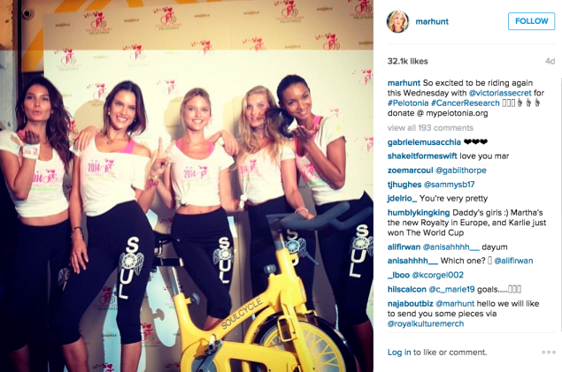 The models cycled for cancer research. (Photo: Instagram/Martha Hunt)