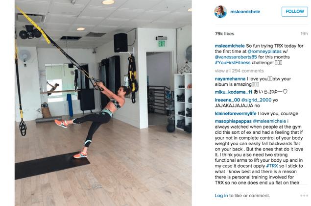 Lea Michele tried TRX. (Photo: Instagram/Lea Michele)