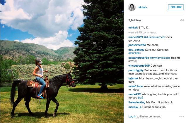 Ms. Kelly went horseback riding. (Photo: Instagram/Minka Kelly)