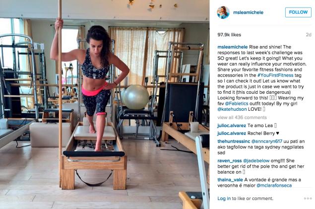 Lea Michele used the Pilates reformer. (Photo: Instagram/Lea Michele)