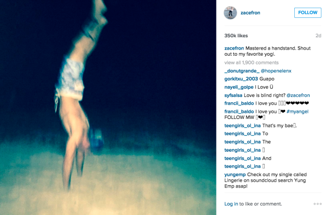 Mr. Efron pulled off an impressive handstand. (Photo: Instagram/Zac Efron)
