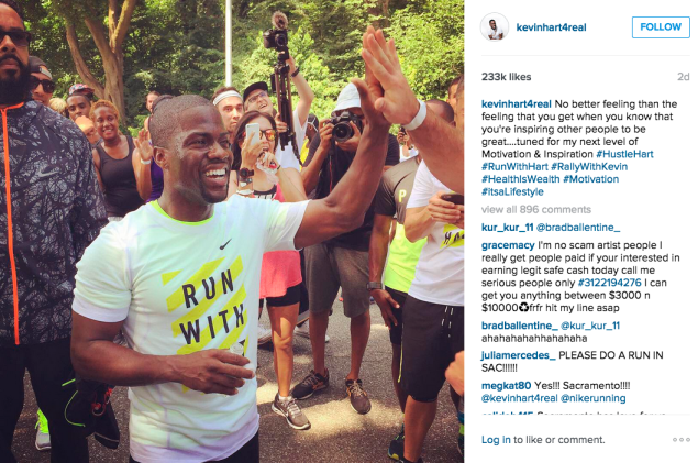Mr. Hart completed a race. (Photo: Instagram/Kevin Hart)