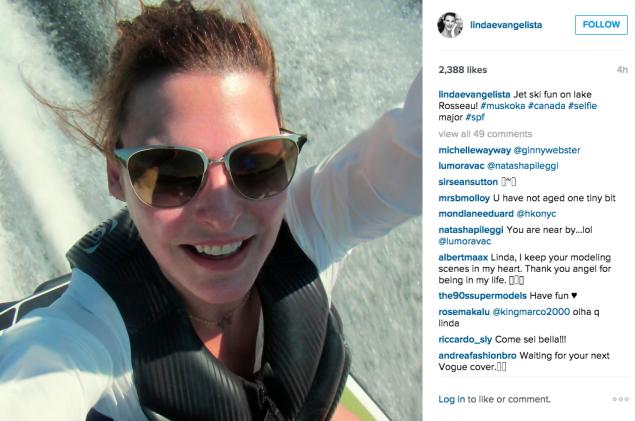 Ms. Evangelista went jet skiing. (Photo: Instagram/Linda Evangelista)