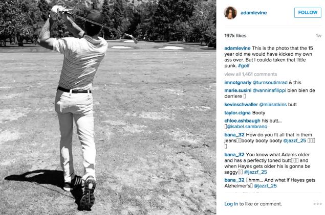 Mr. Levine played golf. (Photo: Instagram/Adam Levine)
