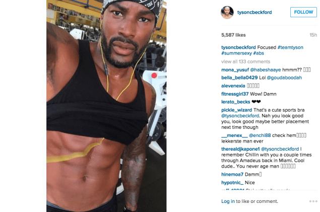 Mr. Beckford did an ab workout. (Photo: Instagram/Tyson Beckford)