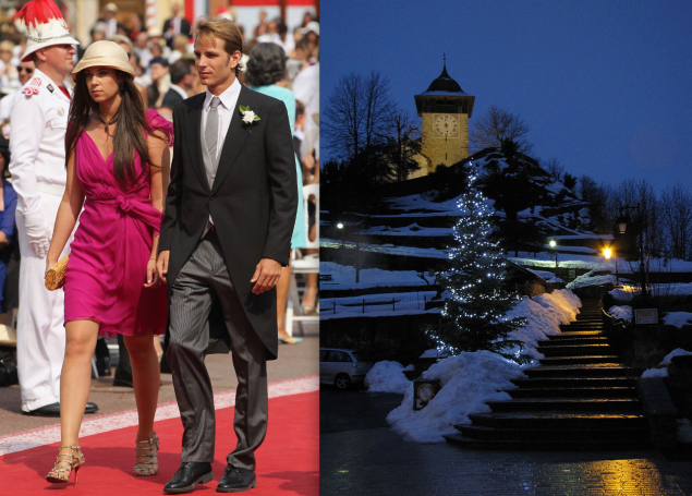 The couple had a religious ceremony in Gstaad, Switzerland. (Photos: Getty Images (left), Wikimedia Commons (right))