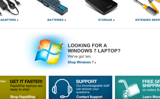 From Toshiba's front page on Monday. (Image: screenshot)