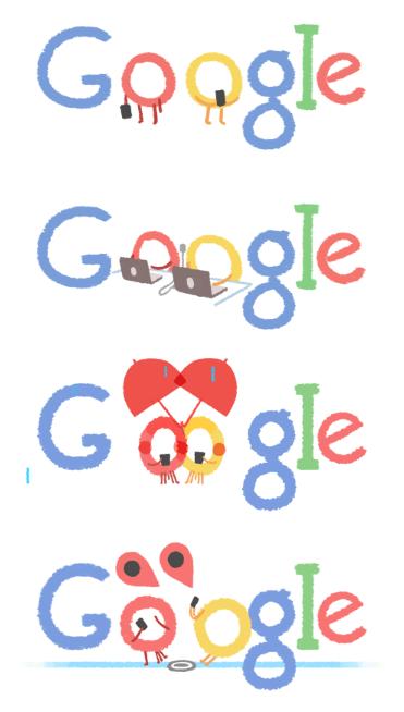 Non-animated Tu B'Av Google Doodles, from the service's blog. (Image: screenshot)