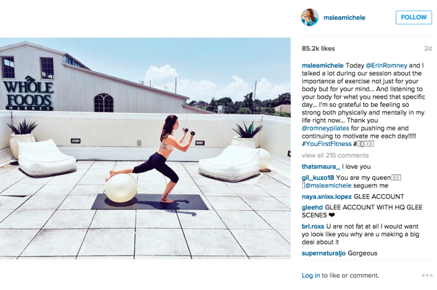 Ms. Michele did Pilates on the roof. (Photo: Instagram/Lea Michele)