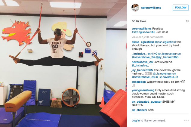 Ms. Williams took her workout off the ground. (Photo: Instagram/Serena Williams)