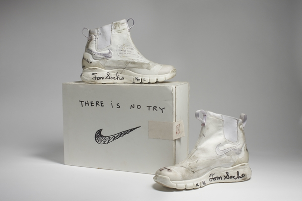 Nike x Tom Sachs. NikeCraft Lunar Underboot Aeroply Experimentation Research Boot Prototype, 2008–-2012. (Photo: Courtesy American Federation of Arts)