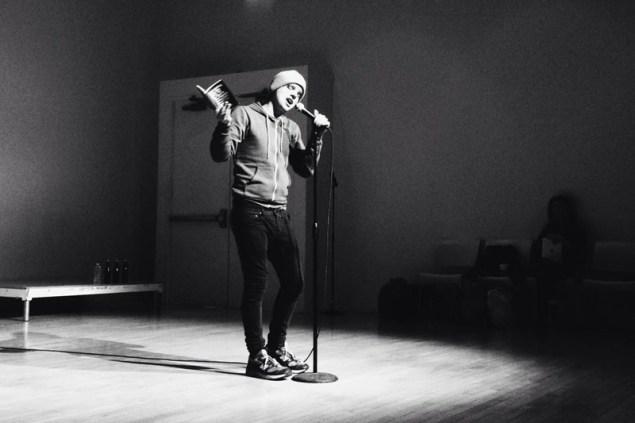 Steve Roggenbuck in performance. (Photo: Courtesy Fridman Gallery)