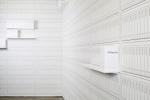 Michael Mandiberg's Print Wikipedia on display at The Denny Gallery)