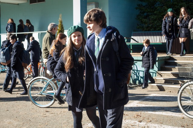 """WAYWARD PINES:  Ben (Charlie Tahan, R) and Amy (guest star Sarah Jeffery, L) in the """"Betrayal"""" episode of WAYWARD PINES airing Thursday, July 2 (9:00-10:00 PM ET/PT) on FOX.  ©2015 Fox Broadcasting Co.  Cr:  Liane Hentscher/FOX"""