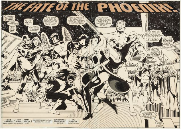 """Double splash page for X-Men #137, """"The Fate of the Phoenix"""" by John Byrne and Terry Austin. The original production art is estimated at $150,000. (Photo: Courtesy Heritage Auctions)"""