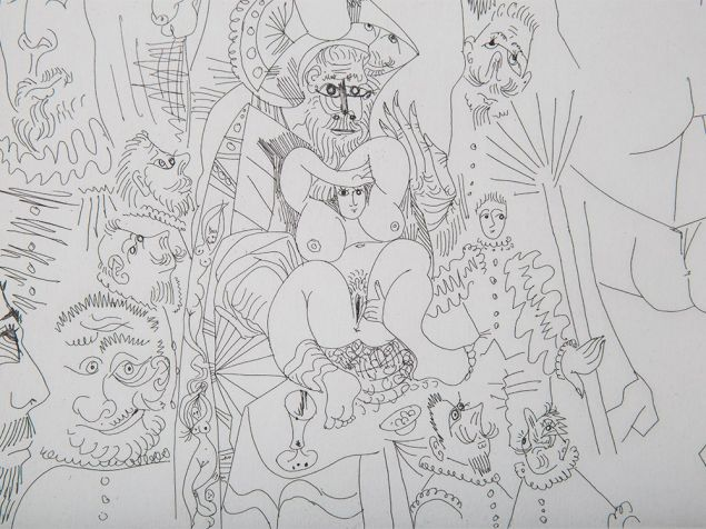 A detail from Picasso's 1969 etching Series 347: 153, depicting an orgy. (Photo: Auctionata)