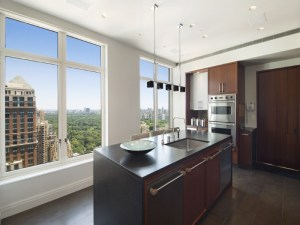 The gourmet kitchen looks...like a kitchen, with a really nice view. (Sotheby's)