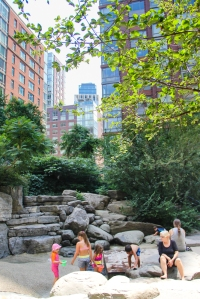 The sand pit in Teardrop Park, Lower Manhattan. (Céline Haeberly for Observer)