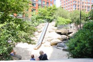 Teardrop Park's 14-foot metal slide. (Céline Haeberly for Observer)