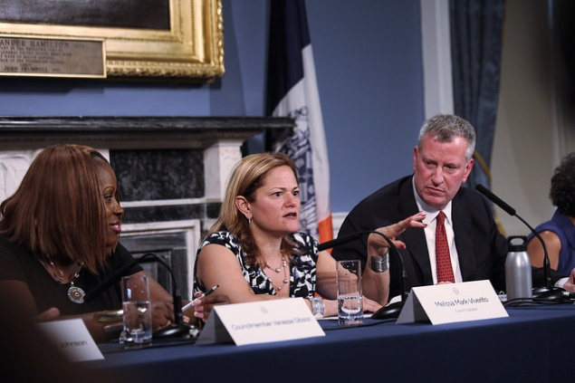 Council Speaker Melissa Mark-Viverito with Mayor Bill de Blasio and Councilwoman Vanessa Gibson. (Photo: William Alatriste for the New York City Council)