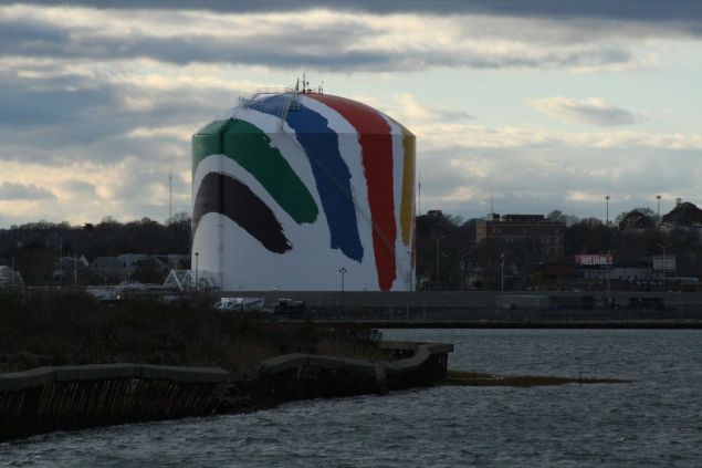 Corita Kent's Rainbow Swash on the Dorchester Gas Tank in Boston. (Photo: Paul Maybury via Flickr)